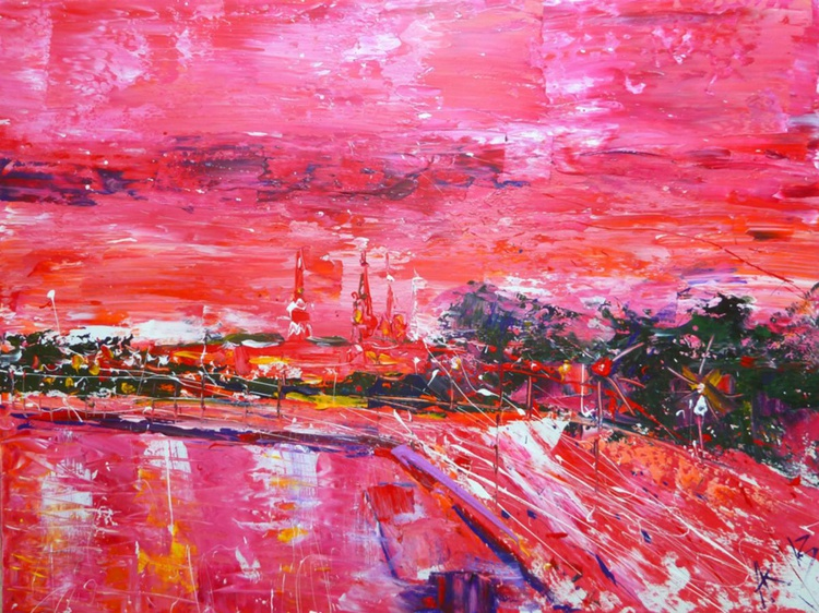 In red, abstract large painting 95x75 cm - Image 0