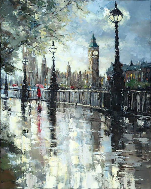 'Rainy evening at Westminster' - Image 0