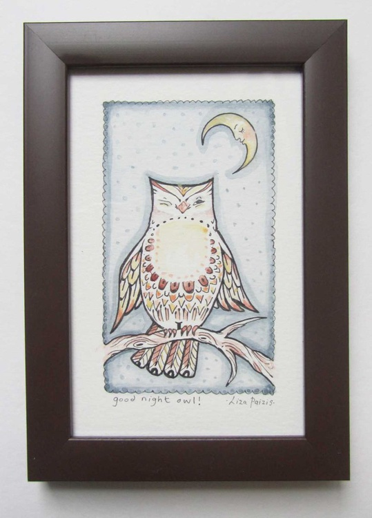 Good Night Owl original watercolour and ink miniature painting of an owl and moon Framed ready to hang - Image 0