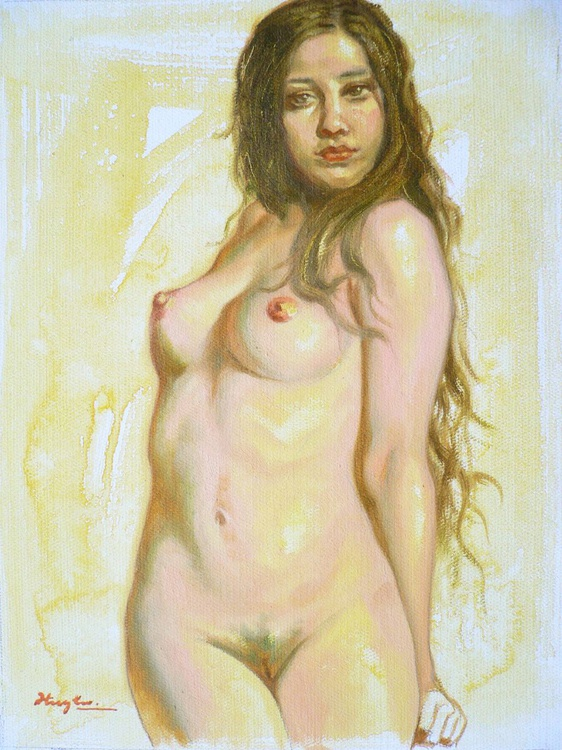 ORIGINAL OIL PAINTING BODY ART FEMALE NUDE GIRL ON LINEN#16-8-4-01 - Image 0