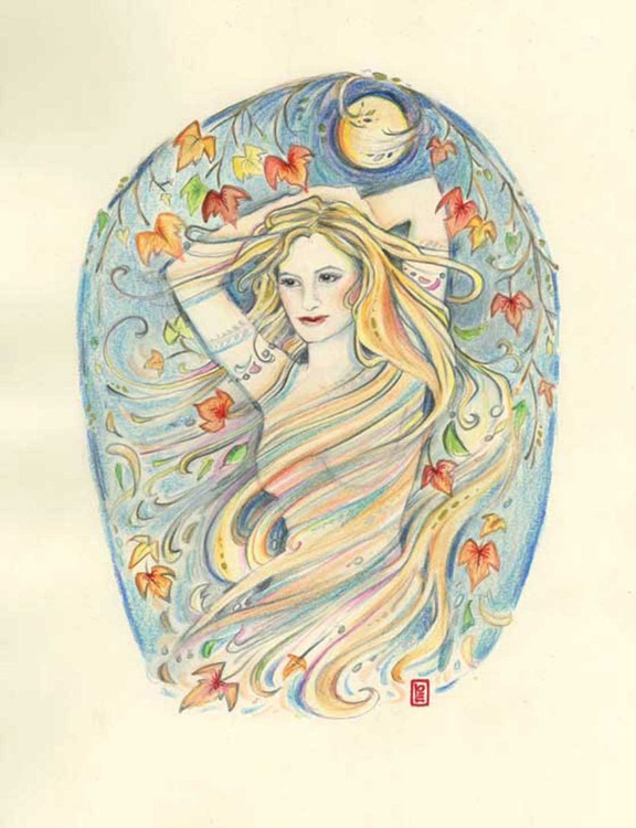 Moon Goddess Original watercolor painting by Liza Paizis in an Art Nouveau style - Image 0