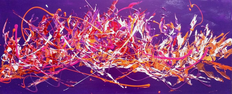 Colour Riot - Large Panoramic, XL, 120x50cm, abstract, Modern Art Office Decor Home - Image 0