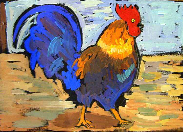 Cock Song. 2017 Year of the rooster, 50x70 cm