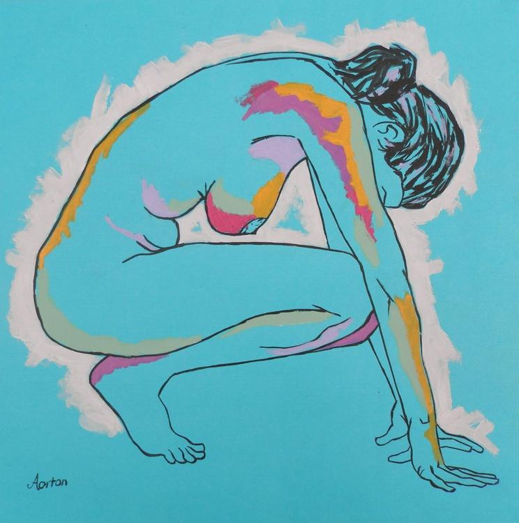 Female Nude Original Painting Crouching Acrylic Female Figure Study - Image 0