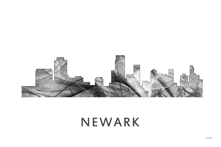 Newark New Jersey Skyline WB BW