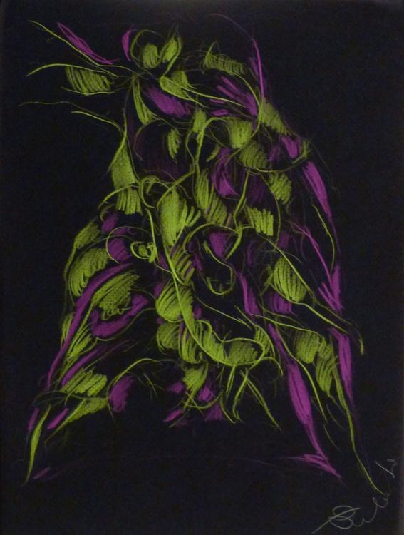 Colour Play 5, pastel on black paper 24x32 cm - Image 0