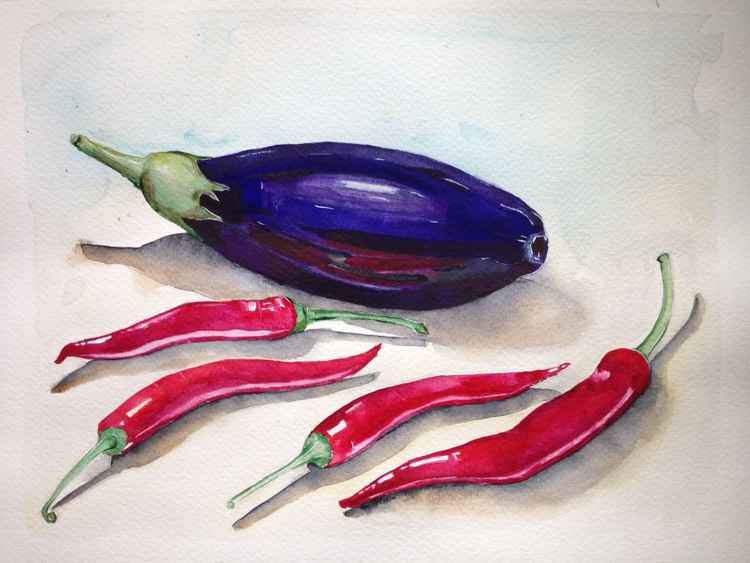 Watercolor still life with eggplant and red pepperonis -