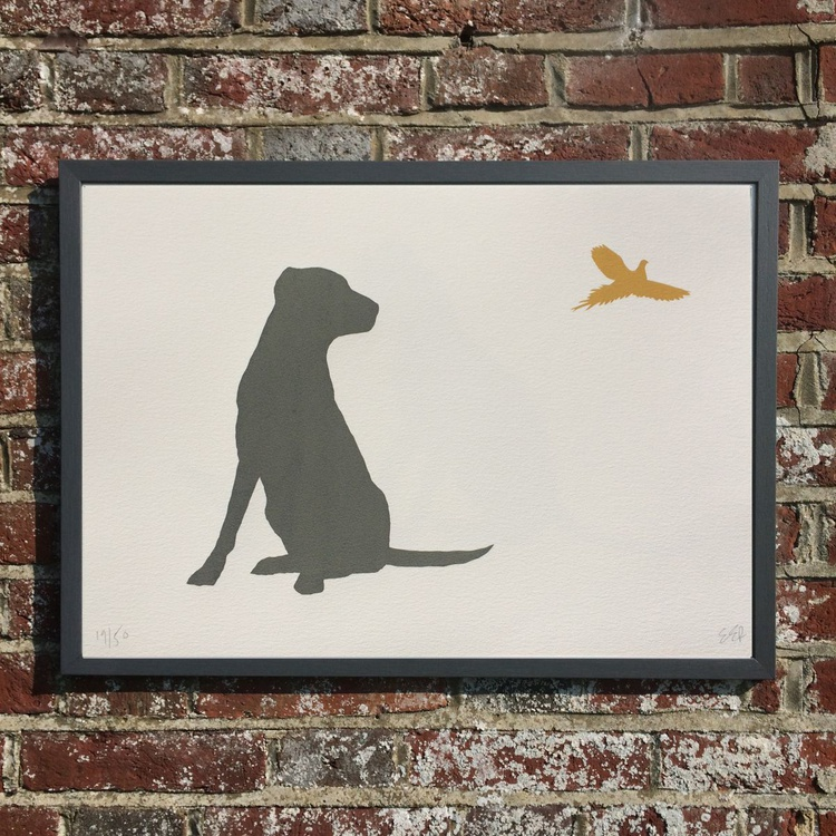 LABRADOR AND PHEASANT-FRAMED- UK DELIVERY ONLY - Image 0