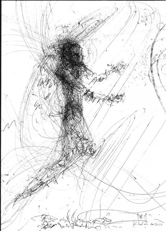 Signal angel romantic oniric sponatne ink drawing by romanian master Ovidiu Kloska - Image 0