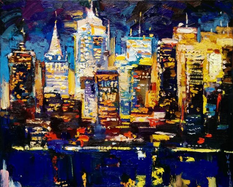 Big city night painting Original oil painting - Image 0