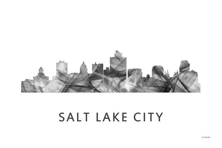 Salt Lake City Skyline WB BW -
