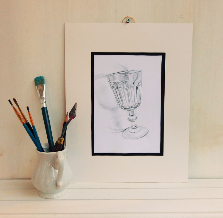 Wine glass. Black and White drawing. Ready to hang. - Image 0