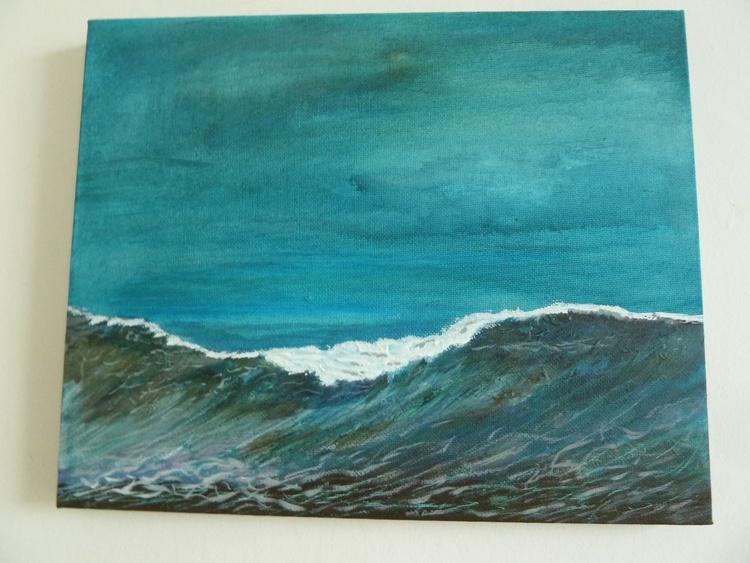 Dusk Wave. Seagull feathers painting - Image 0