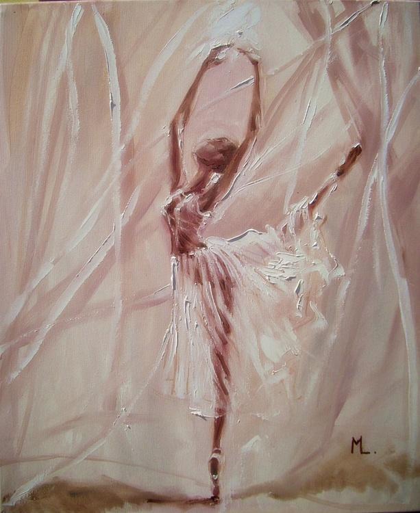 """"""" A DREAM """"- ballerina liGHt  ORIGINAL OIL PAINTING, GIFT, PALETTE KNIFE - Image 0"""