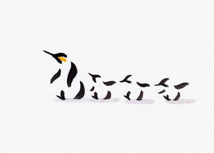 Penguin and three chicks 2115A