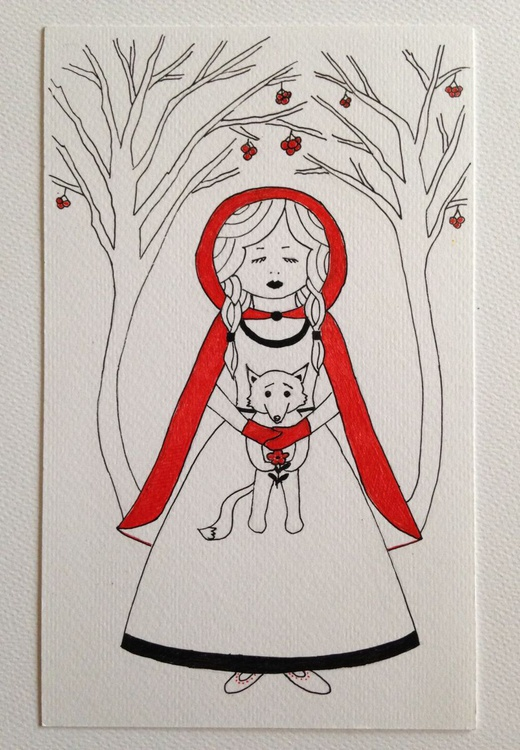 Red riding hood with her wolf - Image 0