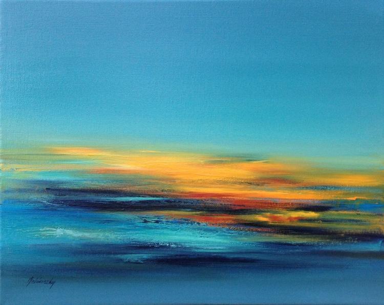 Last sunbeams - 40 x 50 cm, turquoise, red, orange, grey abstract landscape - Image 0
