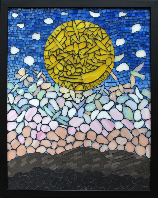 """""""Where The Flying Things Go"""", glass and ceramic mosaic art - Image 0"""