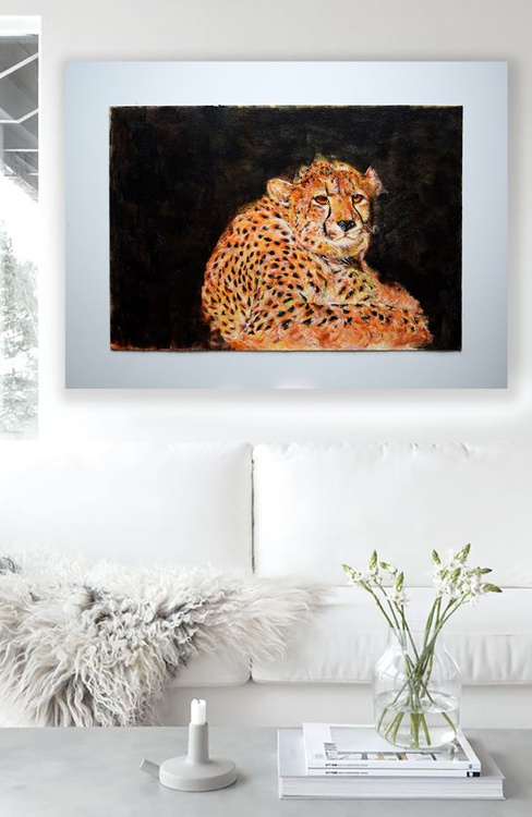 Cheetah in the wild 81 cm x 61 cm Modern Wildlife  / Office Home - Image 0