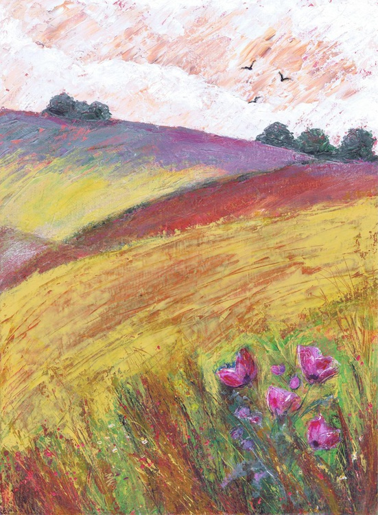 Wild Poppies on the Downs - Image 0