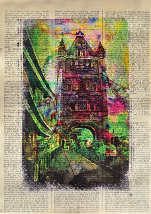 Abstract Tower Bridge On Vintage Paper - Image 0
