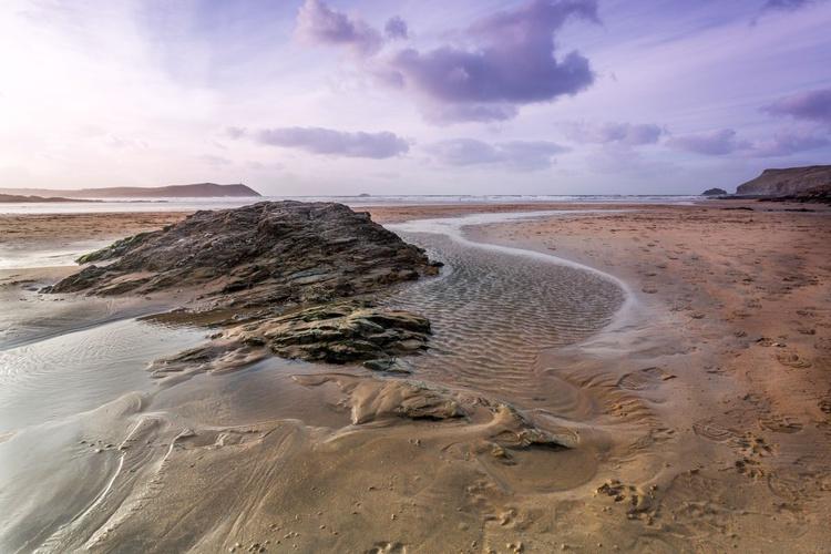 Polzeath beach near Pentireglaze Haven Cornwall England UK. Kernow. - Image 0