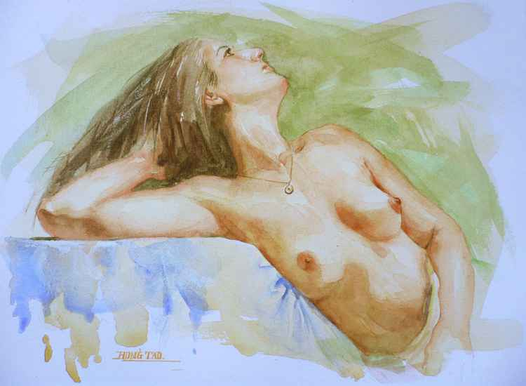 original art watercolour painting sexy naked body women  on paper #16-5-3