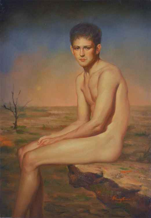 ORIGINAL OIL PAINTING ART MALE NUDE MEN BOY SITTING ON STONE ON CANVAS#11-9-01