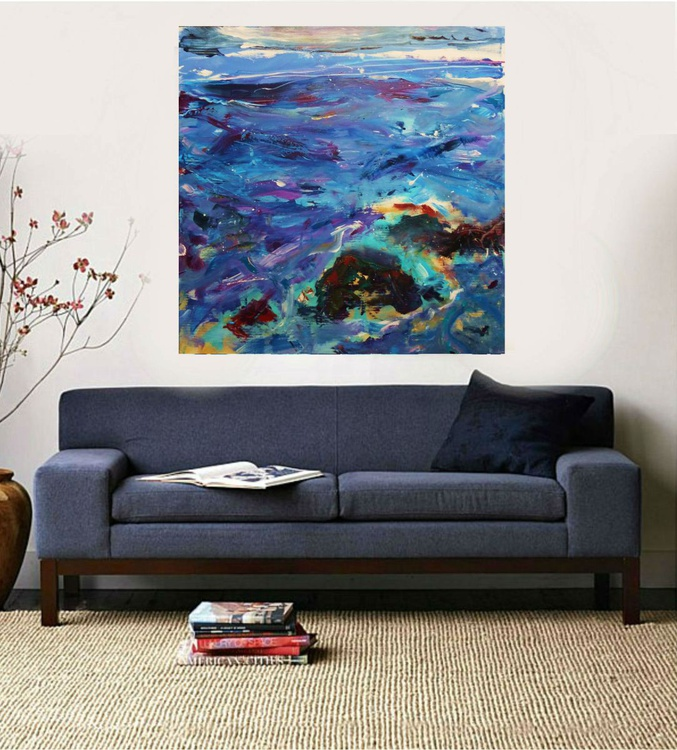 Sea landscape, 100x100cm, large abstract painting( 2016) - Image 0