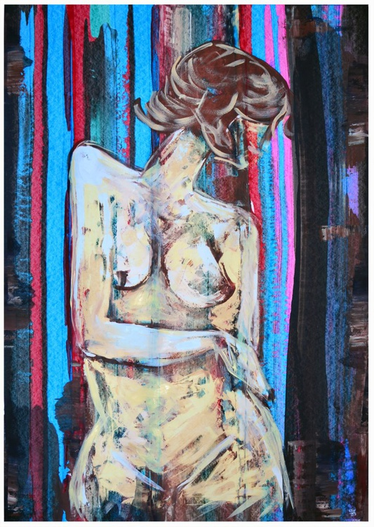 Nude Lines - Abstract Art Painting On A1 Big Size Paper - Image 0