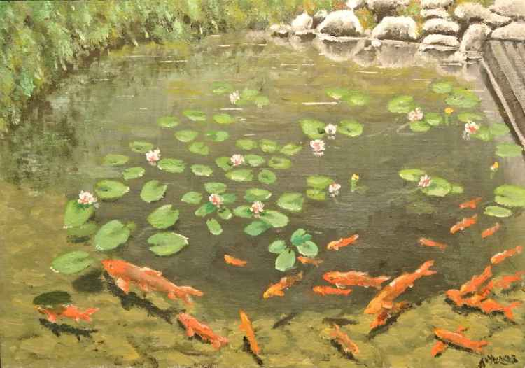 Pond.Oil painting.Canvas/paperboard. -