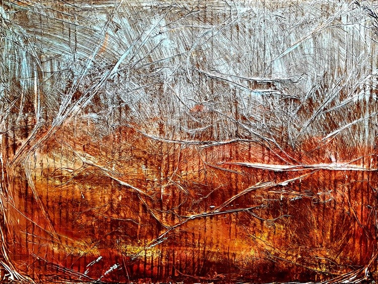 Senza Titolo 227 - abstract landscape - 80 x 60 x 2,50 cm - ready to hang - acrylic painting on stretched canvas - Image 0