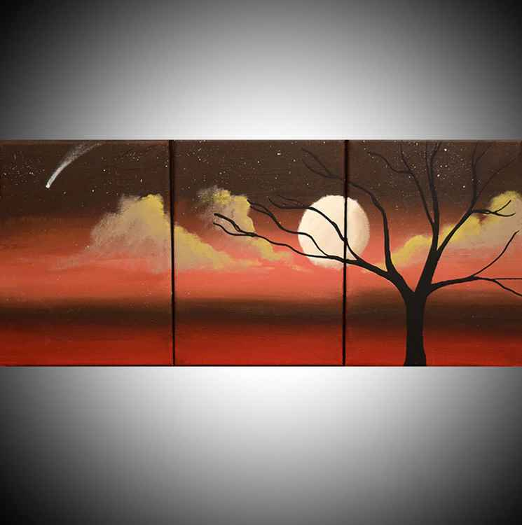 "triptych 3 panel wall art colorful images ""Moon Dance"" 3 panel canvas wall abstract canvas pop abstraction 27 x 12"""