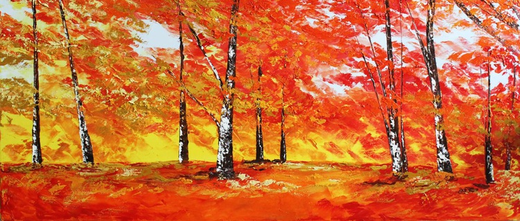 Red birch forest - Image 0