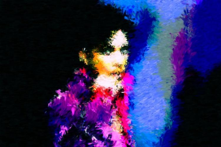 "Purple Rain - Small - Monoprint on Forex Board - 17.72 x 11.81"" - FREE SHIPPING - Image 0"