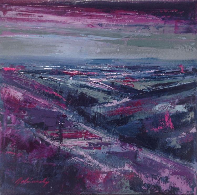 Before the Storm - 30 x 30 cm, gray, purple, magenta abstract landscape oil painting - Image 0