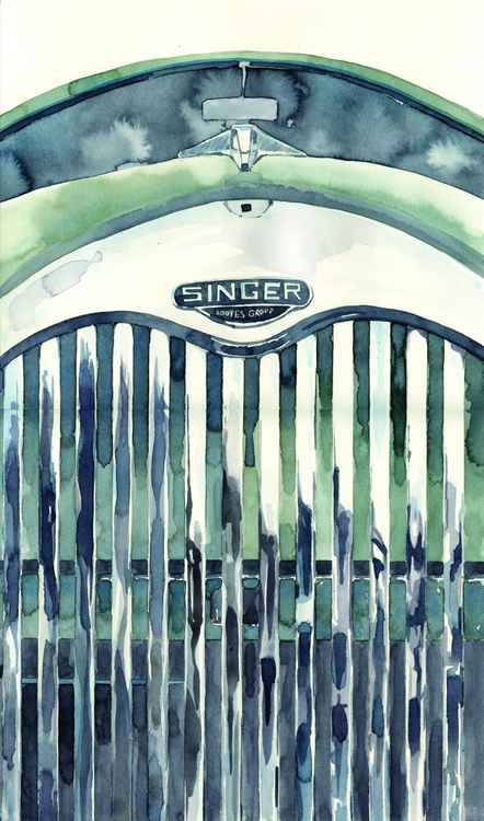 Original Watercolour Painting of Classic Car Grill of a Singer Gazelle -