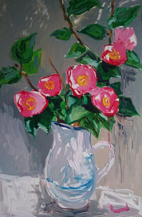 Camellia in the white jug - Image 0