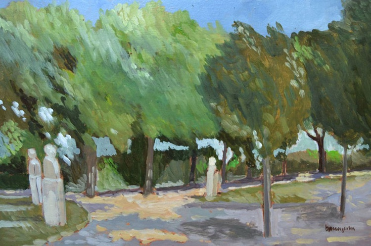 June Afternoon at the Giannicolo in Rome Plein Air Italian Landscape Oil Painting - Image 0