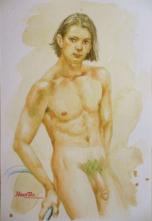 original watercolour painting  artwork nude boy on paper#16-8-23 - Image 0