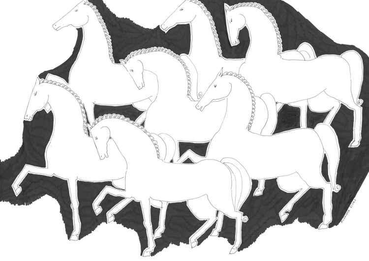 HORSES WALKING -