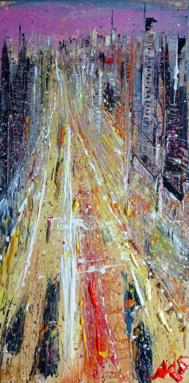 City, original painting 50x100 cm - Image 0
