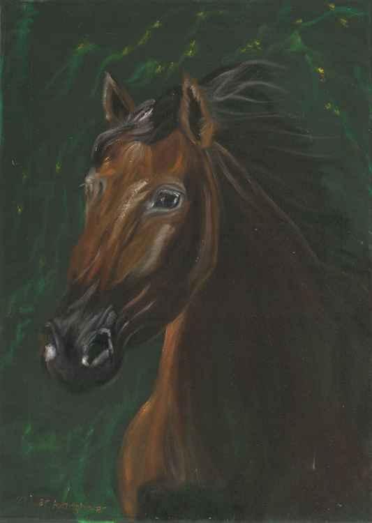 Brown horse on green velvet -
