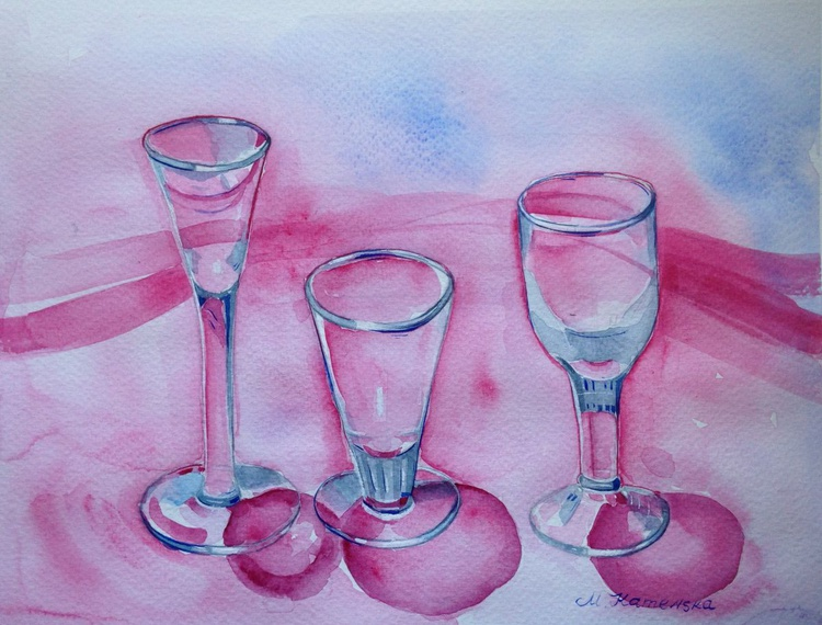 Watercolor still life - Glasses on the red - Image 0