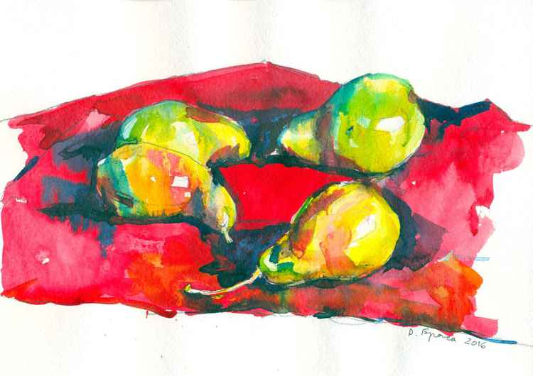 Pears on a red -
