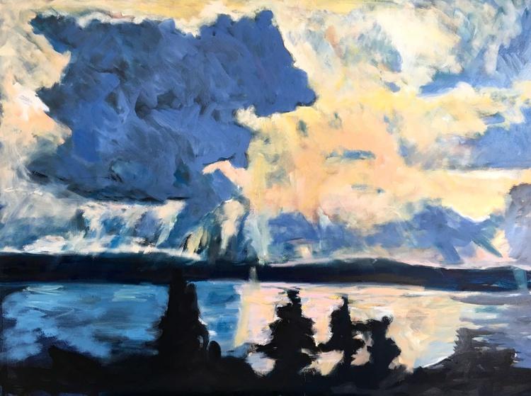 Sunset on Seneca Lake, Large expressionist painting - Image 0
