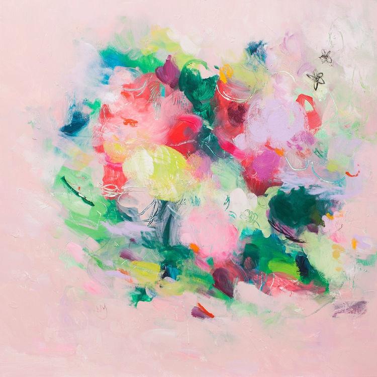 English Garden 02 (80x80 cm, Floral Abstract, Ready to Hang) - Image 0