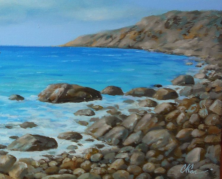 Silence of the sea, Original oil on canvas, Free Shipping - Image 0