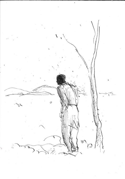 Single Figure and the Tree, 14x21 cm - Image 0