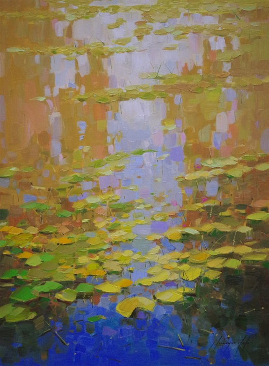 Waterlilies Garden, Original oil Painting, Impressionism, Handmade artwork, One of a Kind - Image 0